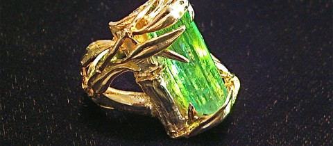 Large Natural Emerald in Original 14K Bamboo Ring