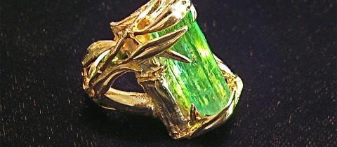 Large Natural Emerald in Original 14K Bamboo Ring