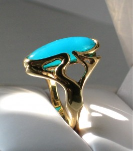 One of a kind Gem Chrysocolla Ring in 14K