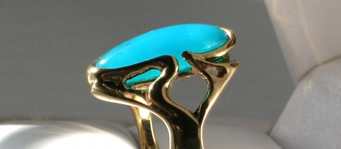 One of a kind 14K Pieces With Gem Chrysocolla