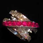 Custom White Gold Ring with Princess Cut Diamonds and Rubies