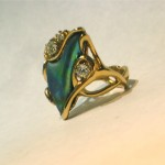 Original 7.5 ct. Natural Abalone Pearl Ring with Diamonds