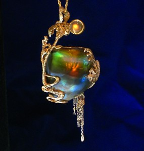 Natural Abalone Pearl with Rainbow moonstone