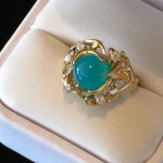 High Quality Gem Chrysocolla in 14K Custom Ring with Diamonds