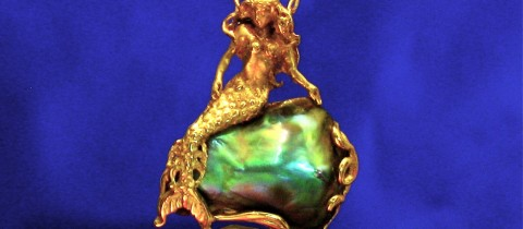 14K Mermaid reclining on a Abalone Pearl Pendant