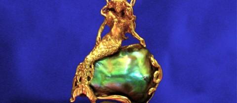 14K Mermaid reclining on a Abalone Pearl Pendant