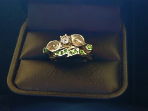 14K Gold Lily Rings with green Garnets