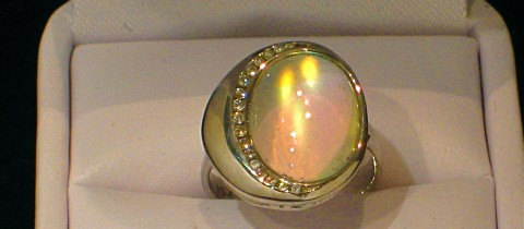 Large Rainbow Moonstone Ring